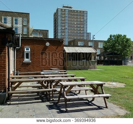 LONDON/ UK- 2nd June 2020: Empty London pub garden, owing to there closure, because of covid-19 pandemic.