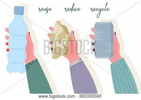 Human Hands Holds Different Recyclable Garbage - Plastic Bottle, Paper, Aluminum Soda Can. Reuse, Re