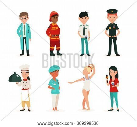 Children In Clothes Of Different Professions. Professions Dreams Of Children. Children Playing In Ad