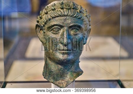 Bronze Bust Of Roman Emperor Constantine The Great In National Museum Of Serbia