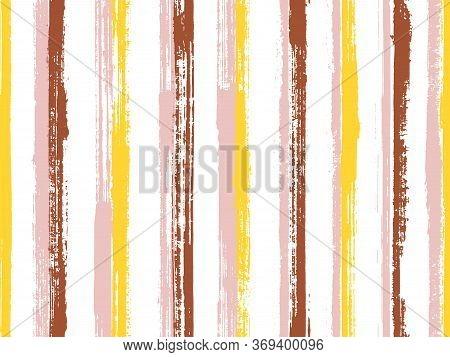Ink Brush Stroke Irregular Stripes Vector Seamless Pattern. Material Tartan Plaid Print Design. Scra