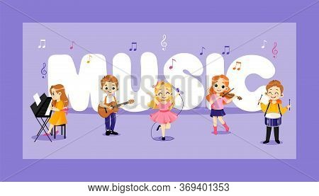 Concept Of Jazz, Pop, Rock And Classical Music Performers. Talented Children Play Percussion, Piano,