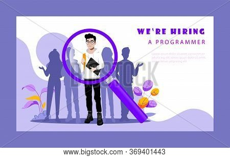Concept Of Recruitment Agency. Hr Manager Is Choosing Best Candidates For Vacant Programmer S Positi