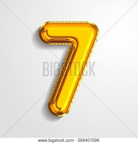 Gold Metallic Helium Alphabet Balloon Foil Number 7 Seven Realistic 3d Render Air Balloon. Collectio