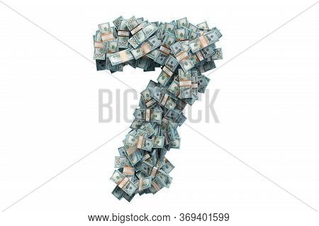 Number 7 From Dollar Packs. 3d Rendering Isolated On White Background
