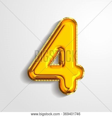 Gold Metallic Helium Alphabet Balloon Foil Number 4 Four Realistic 3d Render Air Balloon. Collection