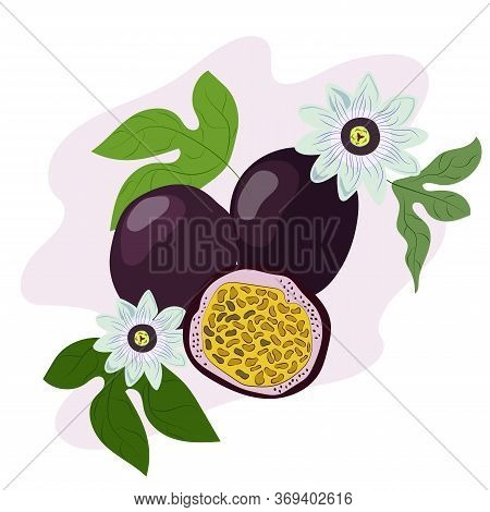 Passion Fruit. Fresh Exotic Fruit For Healthy Dieting. Juicy Raw Tropical Fruit With Yellow Seeds. V