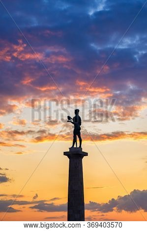 Silhouette Of Victor Monument With Colorful Sunset In The Background, Belgrade