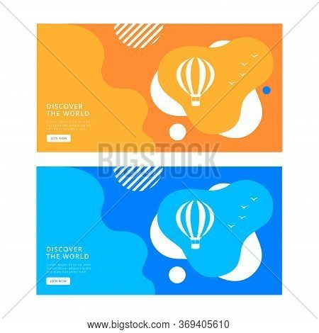 Hot Air Balloon Bon Voyage Vector Illustration. Travel Banner Design. Modern Flat Design. Eps 10. Co