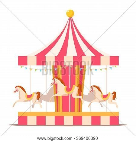 Merry Go Round Vintage Carousel Flat Illustration. Amusement Park Retro Attraction Isolated Design E