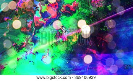 Rainbow Oil Slick With Iridescent Color Waves Reflecting Light - Abstract Background Texture