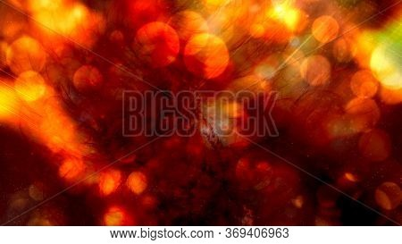 Ambient Orange Glow Lights With Warm Bokeh In Lava Lamp Fluid - Abstract Background Texture