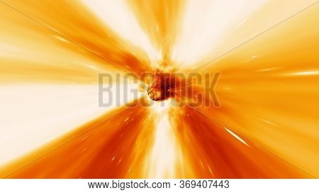 Fly Through Fiery Wormhole Vortex Inferno And Burning Hot Red White Stars - Abstract Background Text