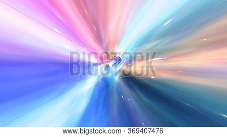 Fly Through Wormhole Hyperspace Vortex Tunnel In Deep Space Galaxy Stars - Abstract Background Textu