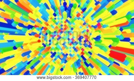 Multicolored Cel Shaded Toon Cube Field Randomly Moving Up And Down - Abstract Background Texture