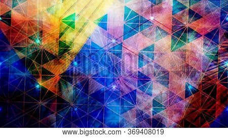 Rotating Colorful Abstract Geometric Tessellated Triangle Pattern - Abstract Background Texture