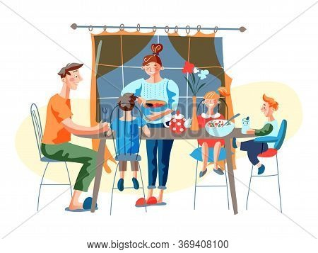 Happy Family Sitting At Table Have Dinner Together At Home Cartoon. Mother Wife Serving Table For Hu