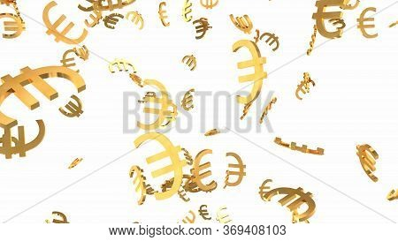 Shiny Golden Euro Signs Falling Down In Slow Motion 3d Animation - Abstract Background Texture