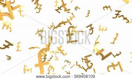Shiny Golden Pound Signs Falling Down In Slow Motion 3d Animation - Abstract Background Texture