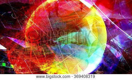 Colorful Orb And Abstract Rotating Jagged Shapes - Abstract Background Texture