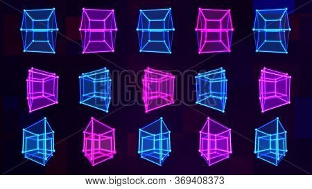 4d Hypercube Tesseract Array Matrix With Trippy Visual Neon Colors - Abstract Background Texture
