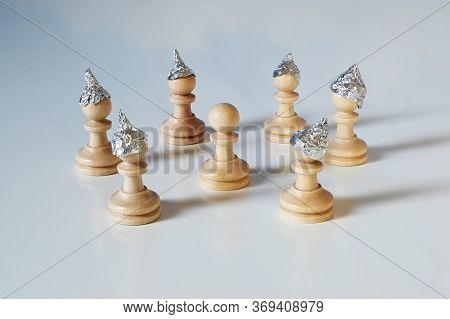 Conspiracy Theory And Manipulation Concept In Coronavirus Time, Group Of Pawn Chess Pieces With Tinf