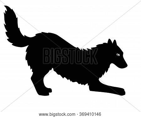 The Silhouette Of A Dog. Big Shaggy Dog - Black Vector Silhouette For Logo Or Sign. Dog Silhouette F