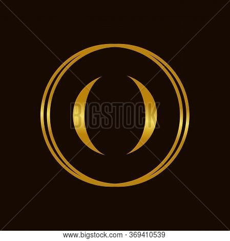 Modern And Elegant Illustration Initial O In Golden Circle.