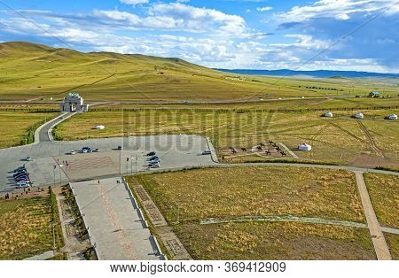 Central Mongolian Landscàpe. View From The Genghis Khan Statue Complex , Featuring A Large Equestria
