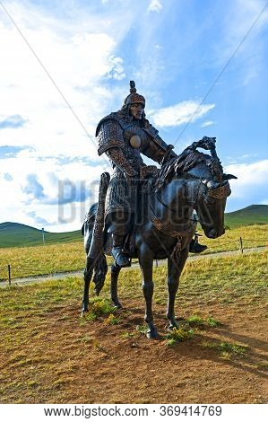 Ulan Bator, Mongolia - August 25, 2016: Statues Of Warrior On A Horse At The Genghis Khan Statue Com