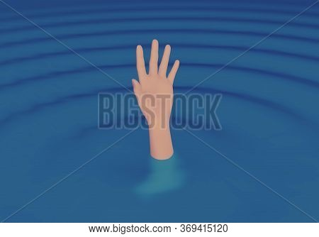 Hand Of The Person Seeks Help While He Is Drowning In The Middle Of The Sea. Hand Calling For Help.
