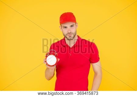 Delivery Courier With Clock. Delivery Man Holding Clock. Shipping Services. Post Office. Online Shop