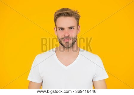 Handsome Young Man. Good Looking Guy Unshaven Face. Hipster With Bristle Wear White T-shirt. Handsom