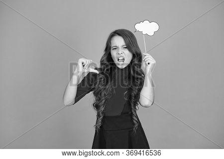 Speech Bubble. Girl Hold Empty Speech Bubble Copy Space. Text Bubble Concept. Communication Thinking