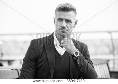 Success Is His Middle Name. Handsome Man Wear Luxurious Watch Background Defocused. Symbol Success.