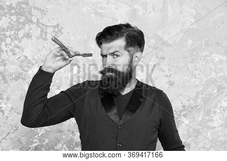 Hipster Shave Face With Blade. Confident Man Beard. Brutal Hairdresser Master. Bearded Barber Ready