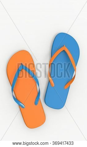 Flat Lay Of A Composed Flip Flops. Orange And Blue Flip Flops Isolated On A White Background, 3d Ren