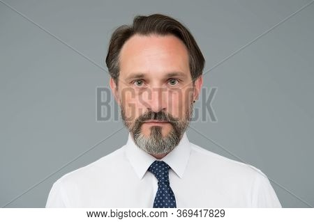 Perfect Beard And Moustache. Serious Mature Man In Shirt. Confident Office Worker. Skilled And Profe