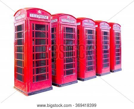 Five Red Telephone Box In London Isolated On White Background With Clipping Path