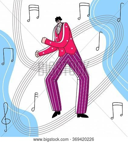 Vector Flat Illustration Dancing Man On Abstract Background In Form Of Melody Notes. Concept Latin D