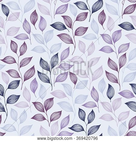 Wrapping Tea Leaves Pattern Seamless Vector. Minimal Tea Plant Bush Leaves Floral Textile Ornament.