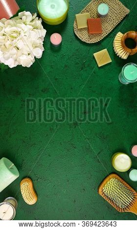 Wellness Background Framed By Pro Environmental Plastic Free Beauty Products