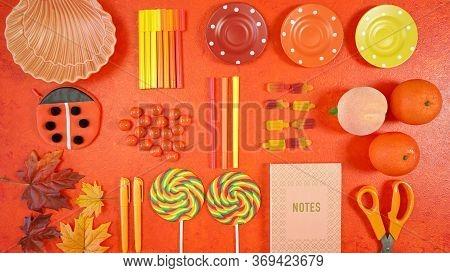 Orange Aesthetic Back To School Theme Creative Layout Flat Lay.