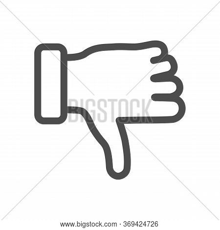 Dislike Gesture Line Icon, Gestures Concept, Thumbs Down Finger Sign On White Background, Unlike Ges