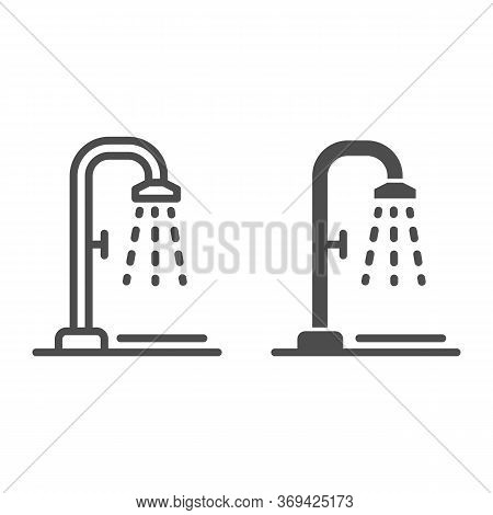 Shower Line And Solid Icon, Summertime Concept, Beach Shower Sign On White Background, Public Shower