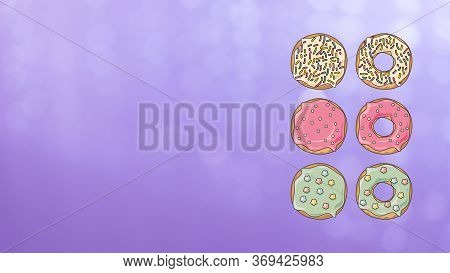 Poster, Background, Banner, Card Or Design With Donuts.  Concept Of National Donut Day. Pastry, Bake