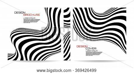Brochure Template Wave With Black And White Striped, Futuristic Lines. Magazine, Poster, Book, Prese
