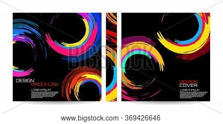 Brochure Template Of Brush Stroke Colorful Circles For Your Design. Magazine, Cover, Poster, Book, P