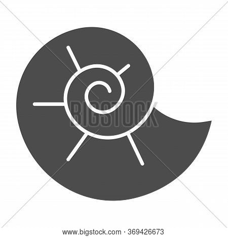 Snail Shell Solid Icon, Nautical Concept, Circle Spiral Shaped Seashell Sign On White Background, Se