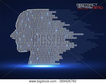 Artificial Intelligence. Abstract Human Head With Binary Code. Technology Backgound